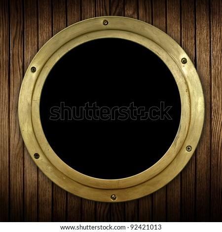 wood background with porthole - stock photo