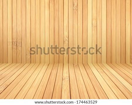 Wood bamboo floor background. - stock photo
