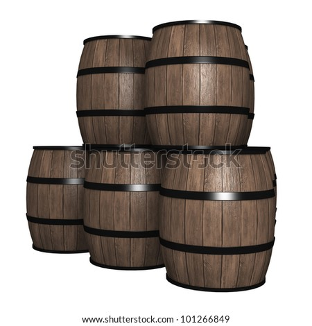 wood barrel - stock photo