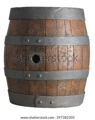 wood barrel, cask, isolated on white background with clipping path