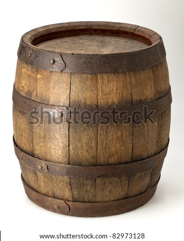 wood barrel with steel  ring - stock photo