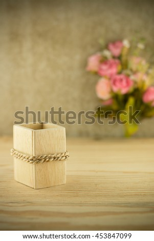 Wood basket for dry flower on home  table,For show dry flower,For show product,vintage concept. - stock photo