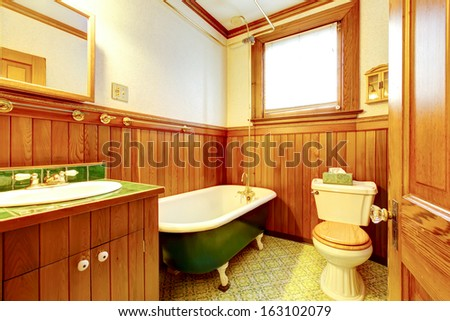 wood bathroom interior with iron cast bathtub old american craftsman style home with lots of american craftsman style