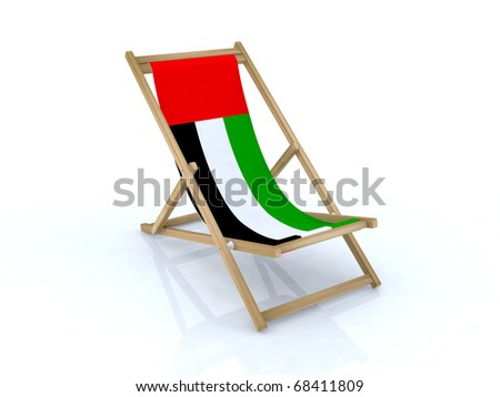 wood beach chair with united arab emirates flag 3d illustration - stock photo