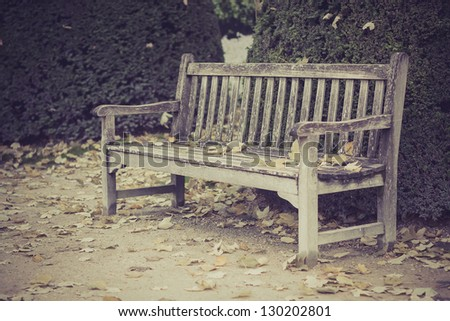 Wood bench in park, Paris, France - stock photo