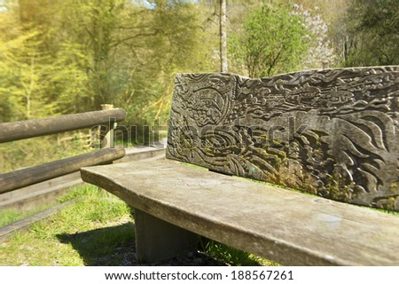 Wood bench in the forest  - stock photo