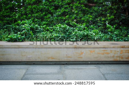 Wood bench in the park (light weigh into central) - stock photo
