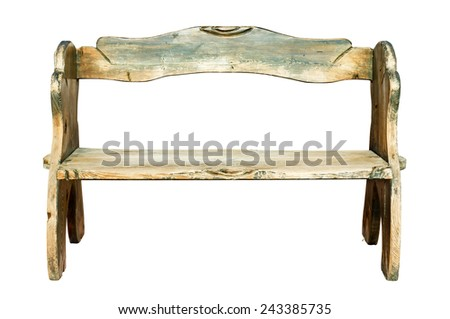 Wood bench isolated on white - stock photo