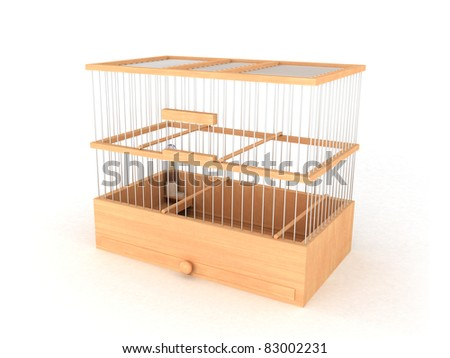 Wood bird cage - stock photo