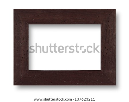 Wood black frame on white with shadow - stock photo