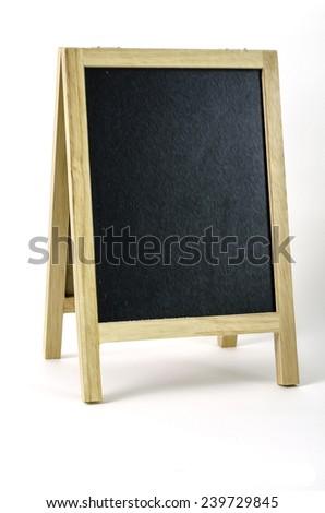 wood blackboard menu on white background - stock photo