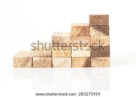 Wood block stacking as step stair. Business concept for growth success process. - stock photo