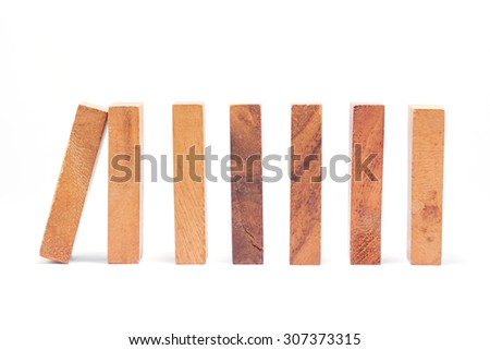 Wood block tower game children on white background