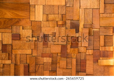 wood block wall texture background - stock photo