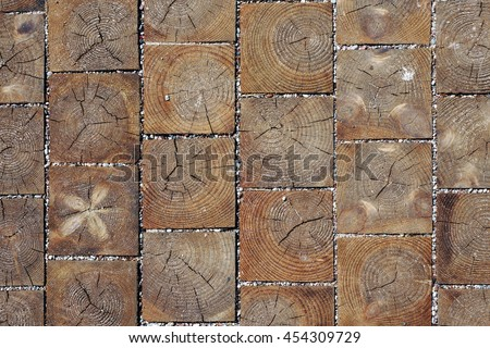 Wood blocks pavement texture. Abstract natural wooden background.       - stock photo