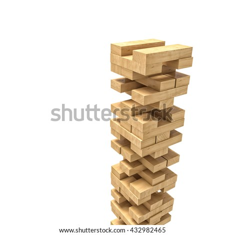 wood blocks tower toy isolated on white 3d image - stock photo