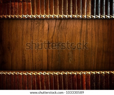 wood board with bamboo blinds - stock photo