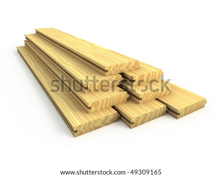 Wood boards isolated - stock photo