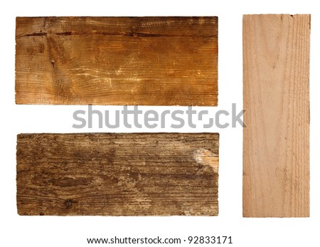 Wood boards isolated on white background - stock photo