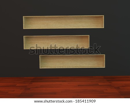 Wood book Shelf built-in  wall on black Background and wooden floor - stock photo