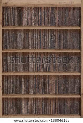 Wood bookshelves vintage retro - stock photo