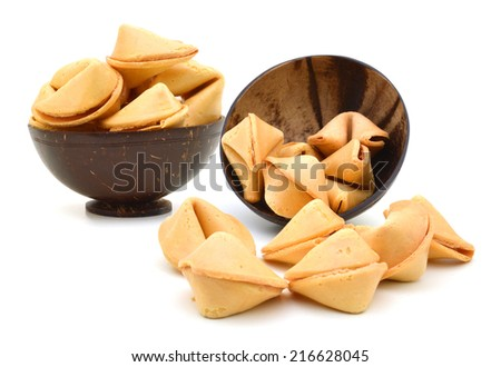 wood bowl of Fortune Cookies Isolated on White with a Clipping Path - stock photo