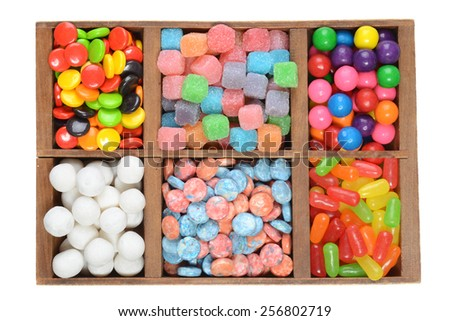 wood box assorted candies - stock photo