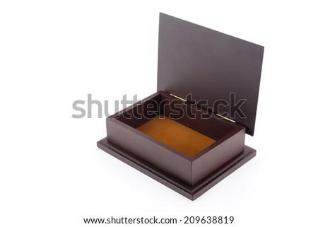 Wood box empty isolated on white background - stock photo