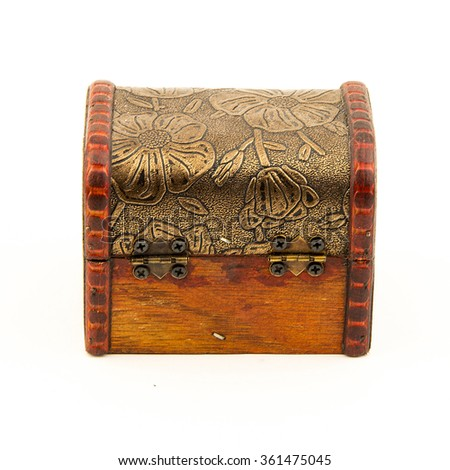 wood box empty isolated on white background / old fashion small box to collect treasure. a container craft by wood, metal and leather. - stock photo