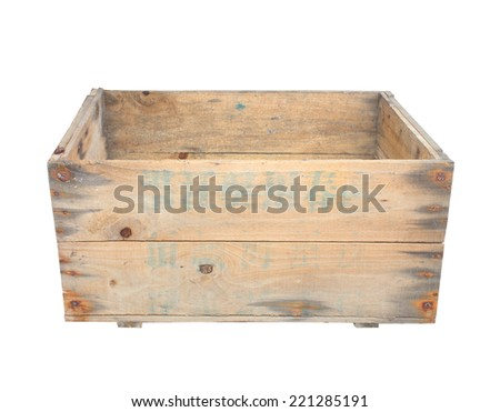 wood box isolated on white background. - stock photo