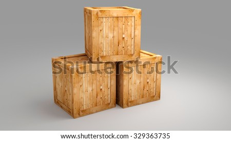 Wood box on greay background  for use in presentations, education manuals, design, etc. - stock photo