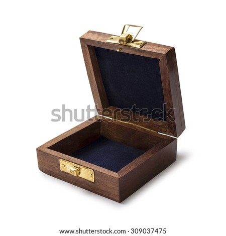 wood box on white background with path