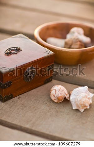 wood box with shell - stock photo