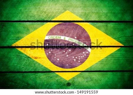 wood brazil flag - stock photo