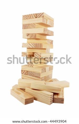 Wood bricks a child game, isolated on white - stock photo