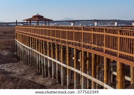 Wood bridge and wood pavilion in Ganghwa island,South Korea. - stock photo