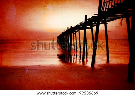 Wood bridge at sunset in grunge for background - stock photo