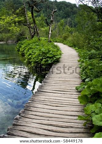 wood bridge in Plitvice - stock photo