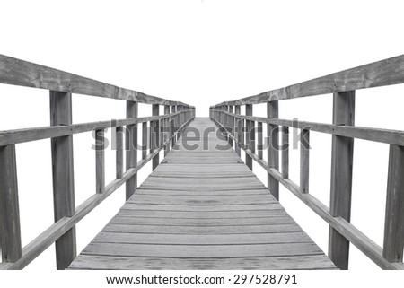 Wood bridge,isolated on white background, with clipping path - stock photo