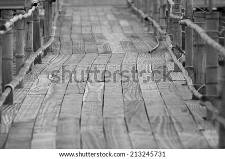 Wood bridge path way background with soft background - stock photo