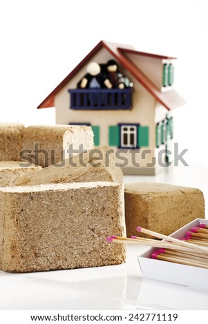 Wood briquettes, close-up