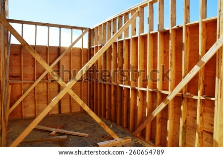 Wood building framing with supports