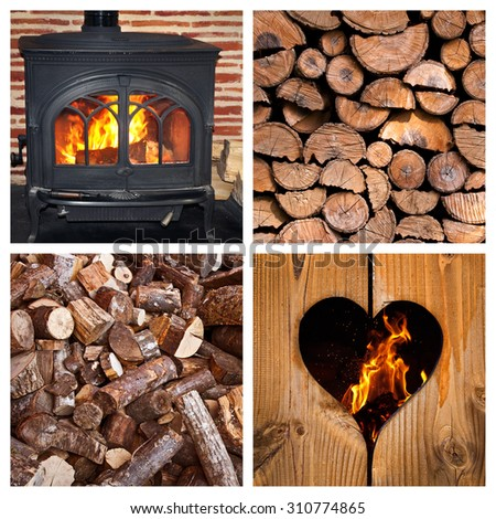 Wood burning stove and logs collage - stock photo