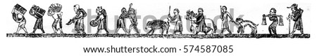 Wood carriers, Garcon talemelier, fripier traveling, Merchant season, Mobsters, Porcher, Horse dealer, dog Jack, Water carrier, Pilgrim, vintage engraved illustration. Magasin Pittoresque 1846.