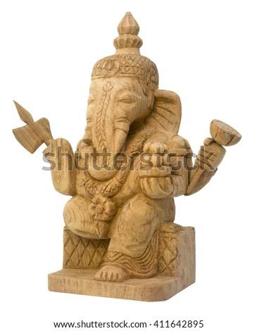 Wood carve Ganesha - stock photo