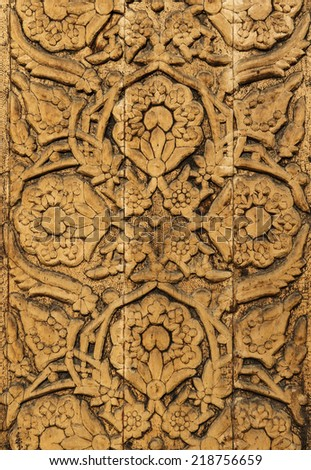 Wood carved ornament in a ancient building in Uzbekistan