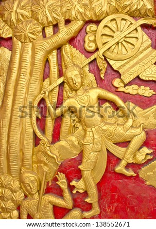 Wood carving decorated at windows of the temple tells story about Lord Buddha. - stock photo