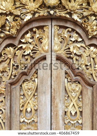 Wood carving gold - stock photo