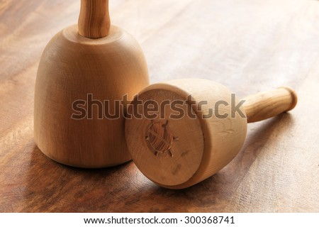 Wood carving mallets on table - stock photo