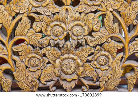 Wood Carving of Flowers,Thailand - stock photo